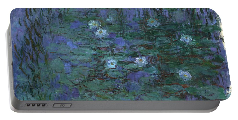 Blue Water Lilies Portable Battery Charger featuring the painting Blue Water Lilies, 1919 by Claude Monet