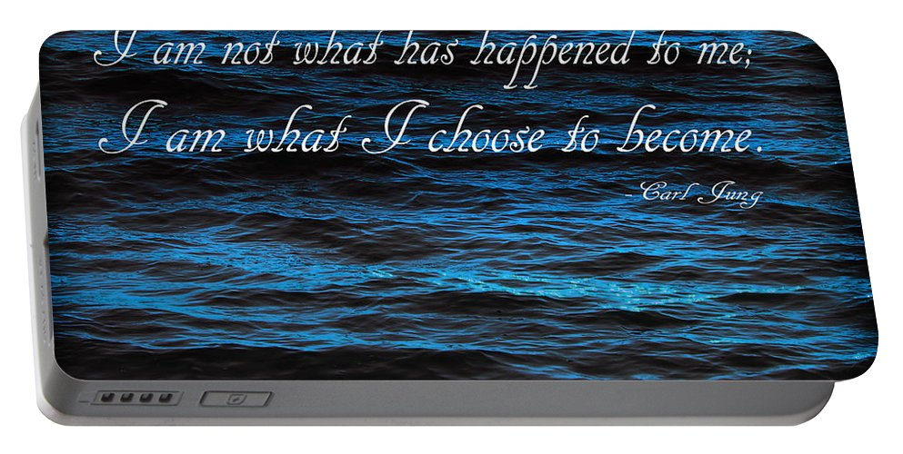 Water Portable Battery Charger featuring the photograph Blue Water With Inspirational Text by Donald Erickson