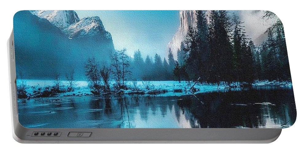 Rural Portable Battery Charger featuring the painting Blue Winter Fantasy. L B by Gert J Rheeders