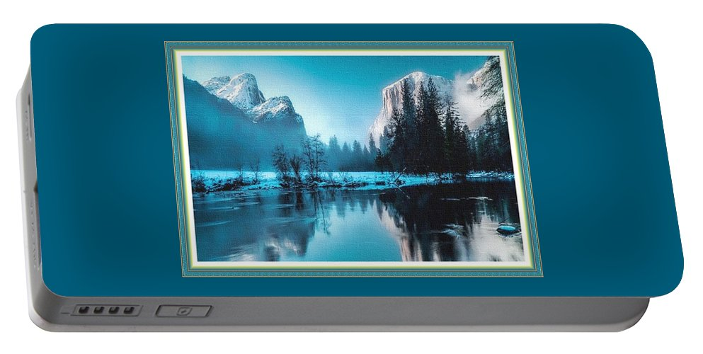 Rural Portable Battery Charger featuring the painting Blue Winter Fantasy. L B With Decorative Ornate Printed Frame. by Gert J Rheeders