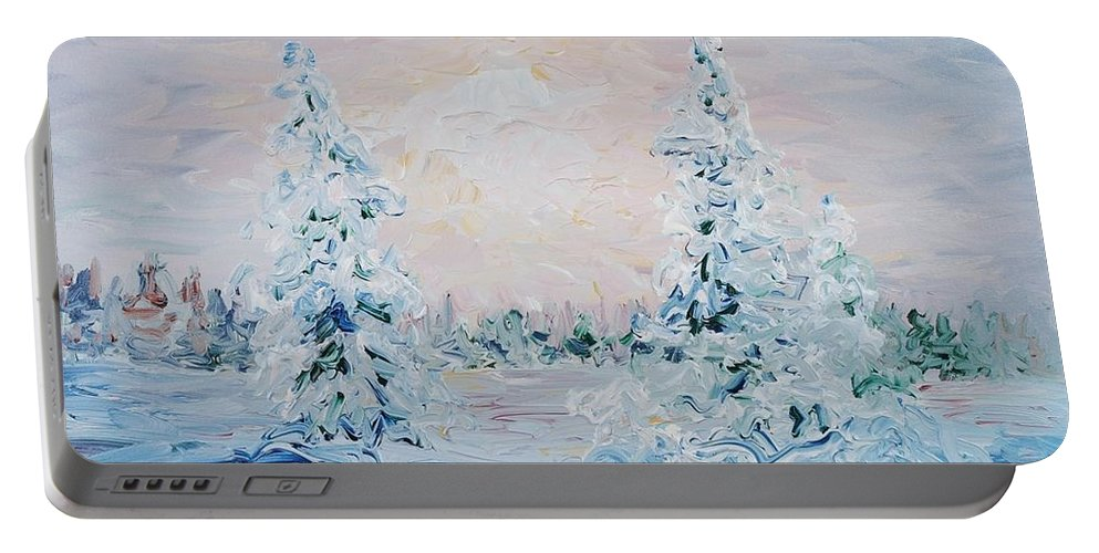Landscape Portable Battery Charger featuring the painting Blue Winter by Nadine Rippelmeyer