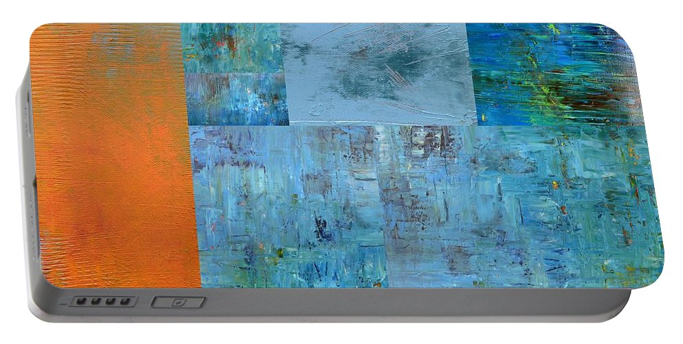 Monochromatic Portable Battery Charger featuring the painting Blue With Orange 2.0 by Michelle Calkins