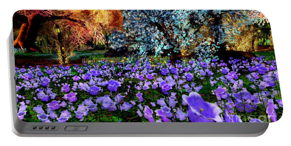 Bluebells Portable Battery Charger featuring the digital art Bluebells by Gallery Beguiled