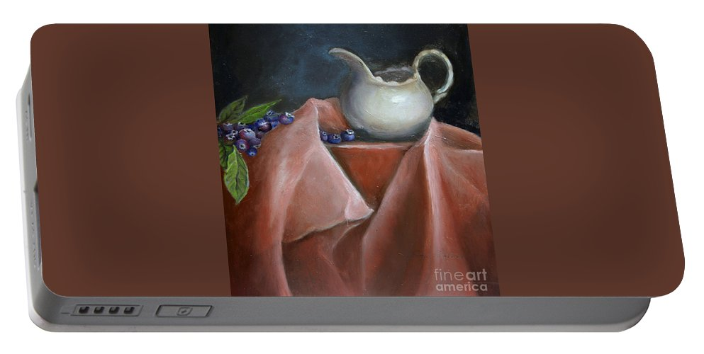 Blueberries Portable Battery Charger featuring the painting Blueberries And Cream by Portraits By NC