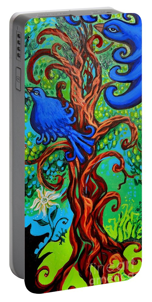 Bluebird Portable Battery Charger featuring the painting Bluebird In Tree by Genevieve Esson