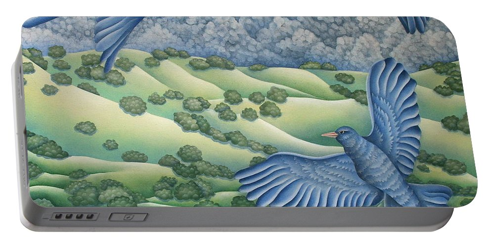 Portable Battery Charger featuring the painting Bluebirds Of Happiness by Jeniffer Stapher-Thomas
