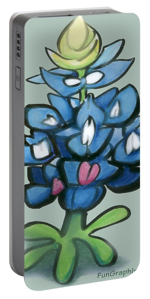 Bluebonnet Portable Battery Charger featuring the digital art Bluebonnet by Kevin Middleton