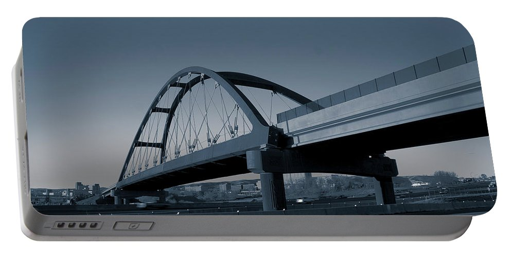 Duotone Portable Battery Charger featuring the photograph Blued Bridge by Angus Hooper Iii