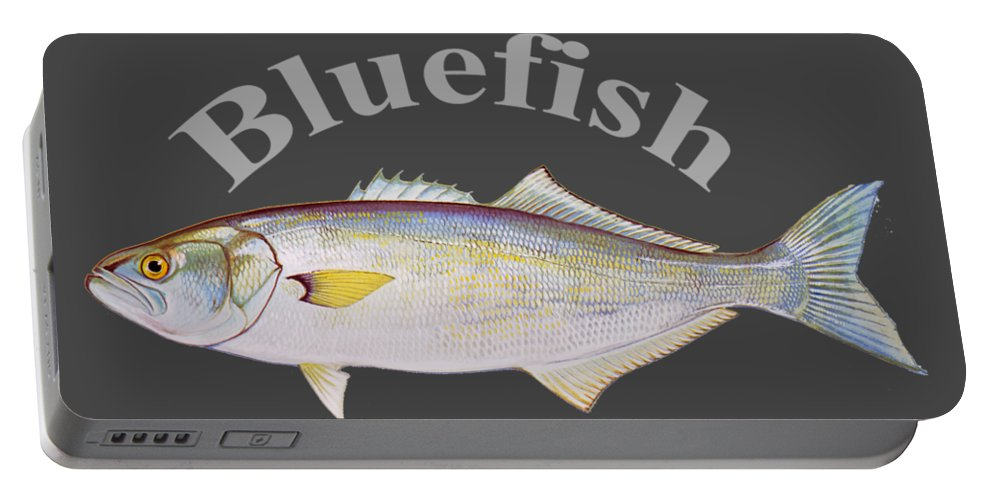 Bluefish Portable Battery Charger featuring the digital art Bluefish by T Shirts R Us -