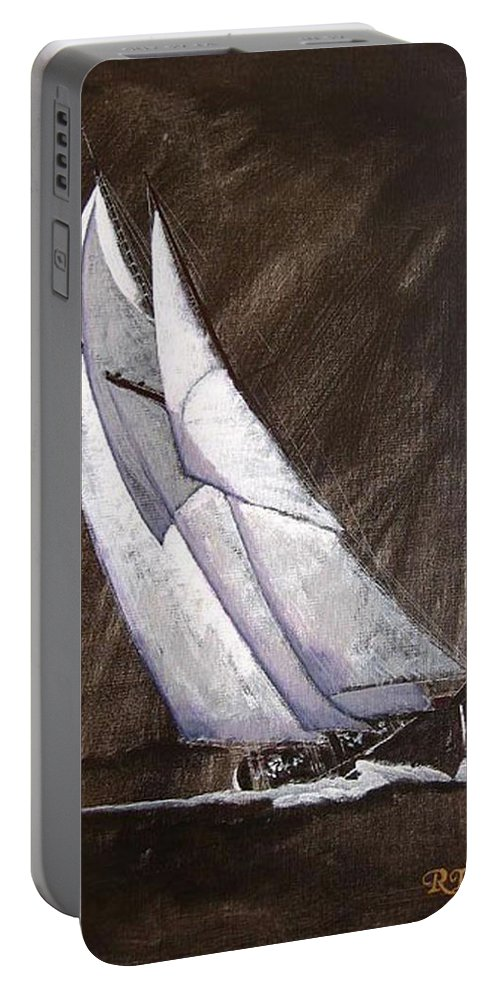 Bluenose Portable Battery Charger featuring the painting Bluenose At Night Coming by Richard Le Page