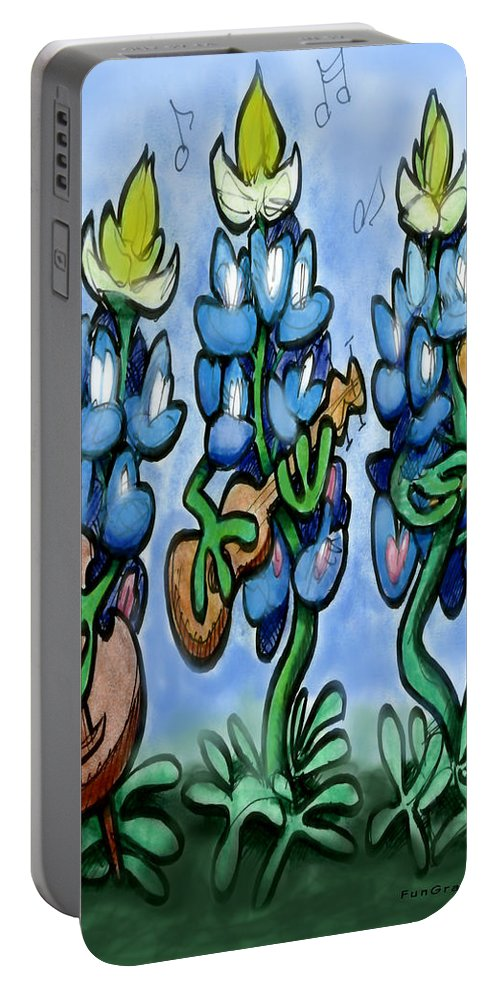 Bluebonnet Portable Battery Charger featuring the digital art Blues Bonnets by Kevin Middleton