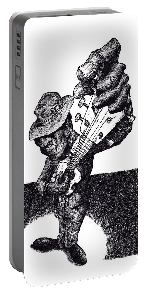 Blues Portable Battery Charger featuring the drawing Blues Guitar by Tobey Anderson