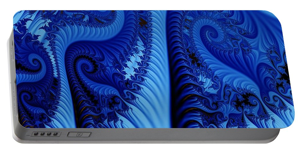 Fractal Art Portable Battery Charger featuring the digital art Blues by Ron Bissett