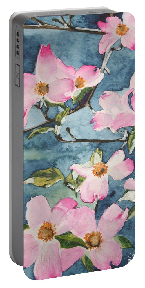 Flowers Portable Battery Charger featuring the painting Blushing Prettily by Jean Blackmer