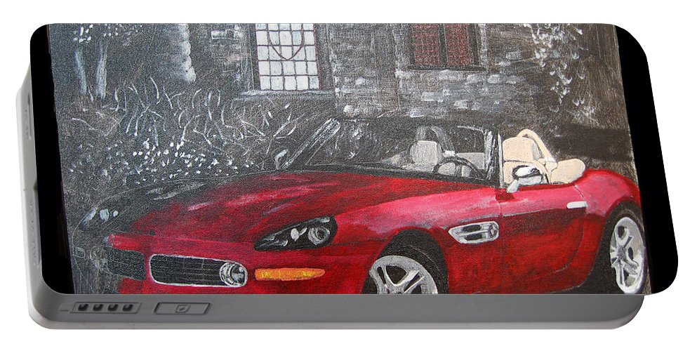 Bmw. Z8 Portable Battery Charger featuring the painting Bmw Z8 by Richard Le Page