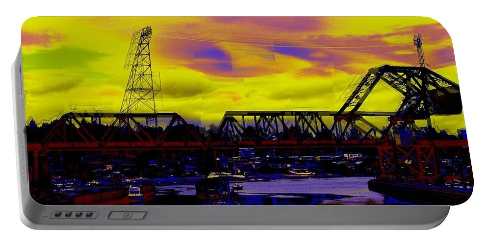 Seattle Portable Battery Charger featuring the photograph Bnsf Trestle At Salmon Bay by Tim Allen