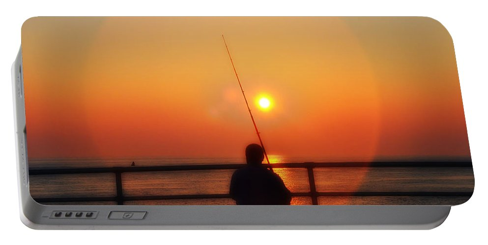 Atlantic City Portable Battery Charger featuring the photograph Boardwalk Fishing by Bill Cannon