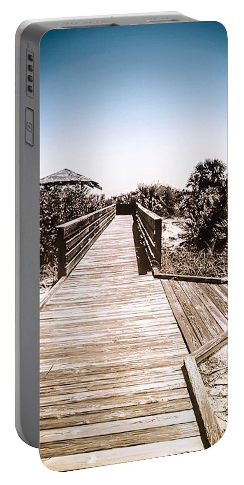 Boardwalk Portable Battery Charger featuring the photograph Boardwalk by Kendall Tabor