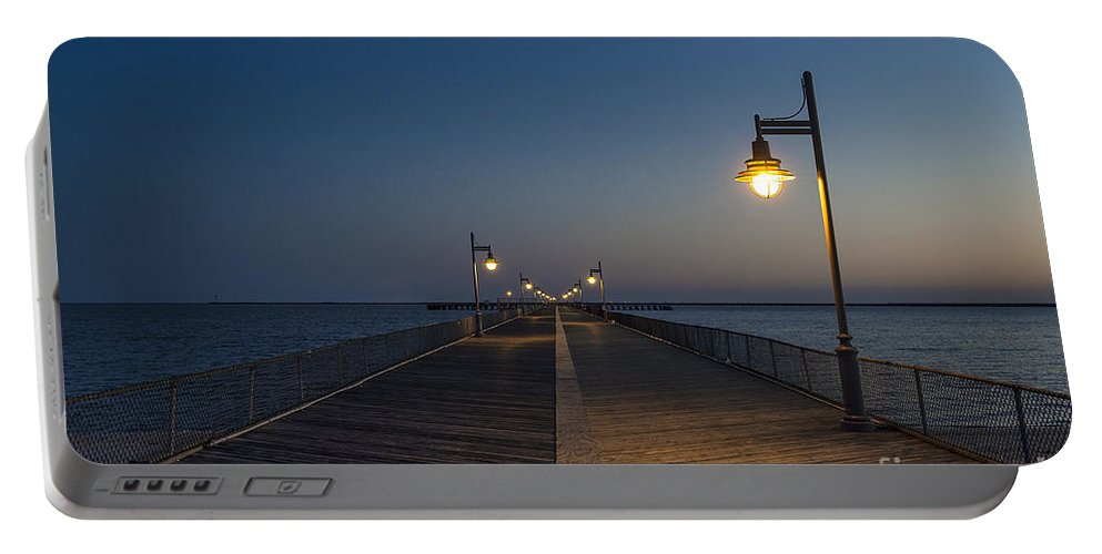 Boardwalk Portable Battery Charger featuring the photograph Boardwalk Night. by John Greim