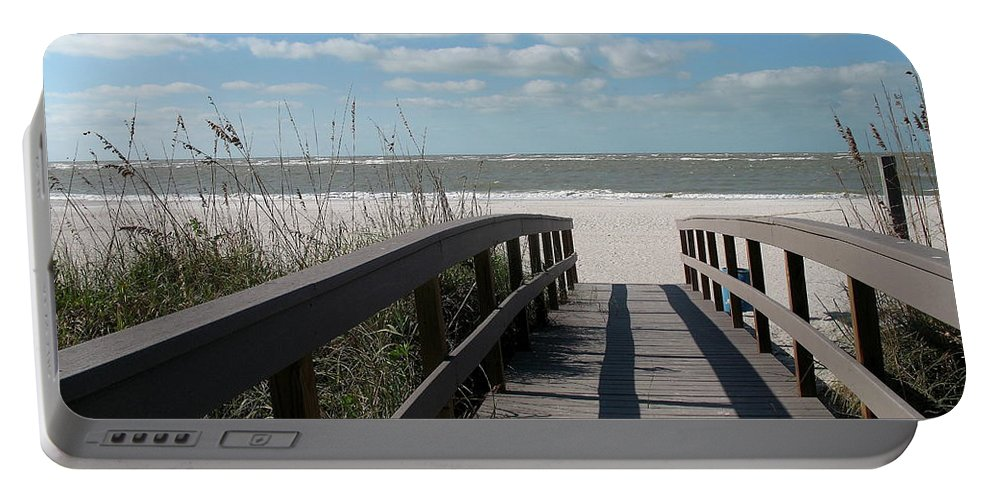 Boardwalk Portable Battery Charger featuring the photograph Boardwalk To The Beach by Christiane Schulze Art And Photography