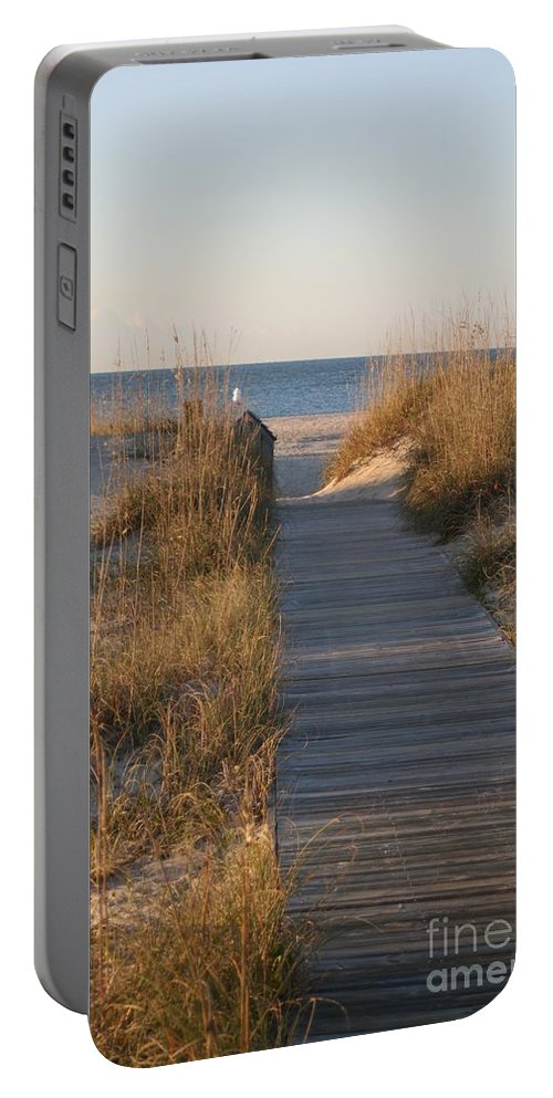 Boardwalk Portable Battery Charger featuring the photograph Boardwalk to the Beach by Nadine Rippelmeyer