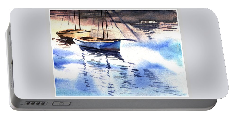 Watercolor Portable Battery Charger featuring the painting Boat And The River by Anil Nene