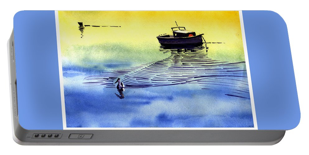 Watercolor Portable Battery Charger featuring the painting Boat And The Seagull by Anil Nene