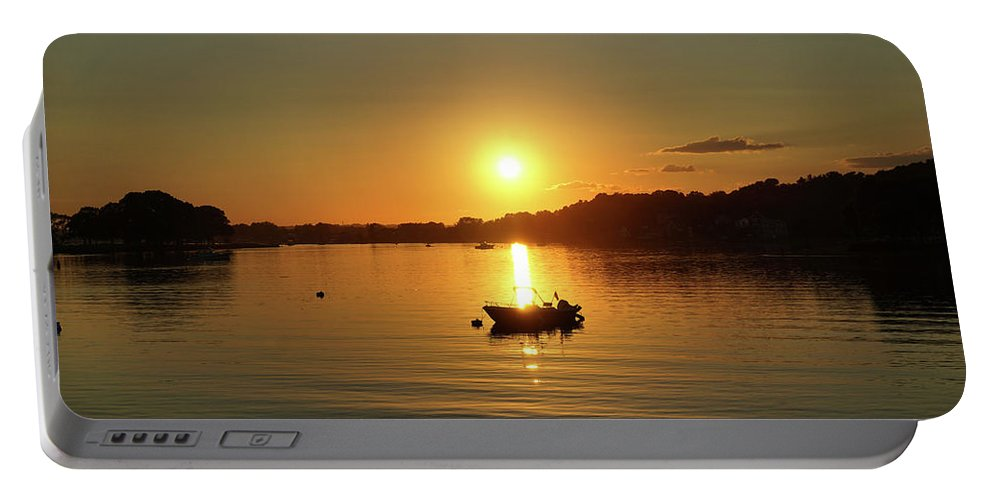 Boat Portable Battery Charger featuring the photograph Boat At Sunset Glow by Lilia D