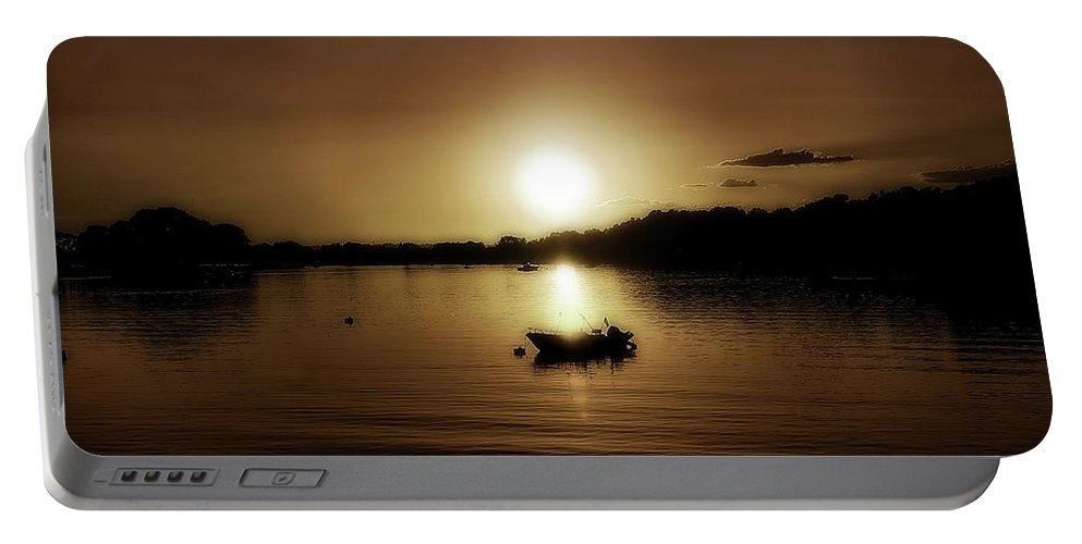 Boat Portable Battery Charger featuring the photograph Boat At Sunset Glow - Sepia by Lilia D