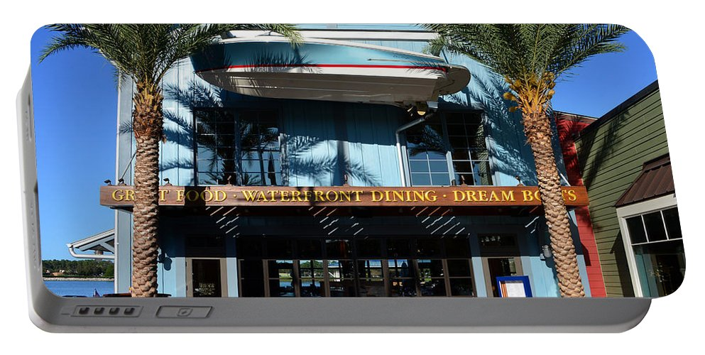 Boathouse Disney Springs Florida Portable Battery Charger featuring the photograph Boathouse Front by David Lee Thompson