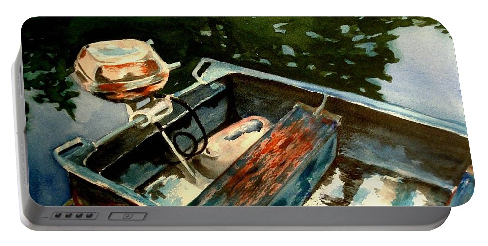 Boat Portable Battery Charger featuring the painting Boat In Fog 2 by Marilyn Jacobson