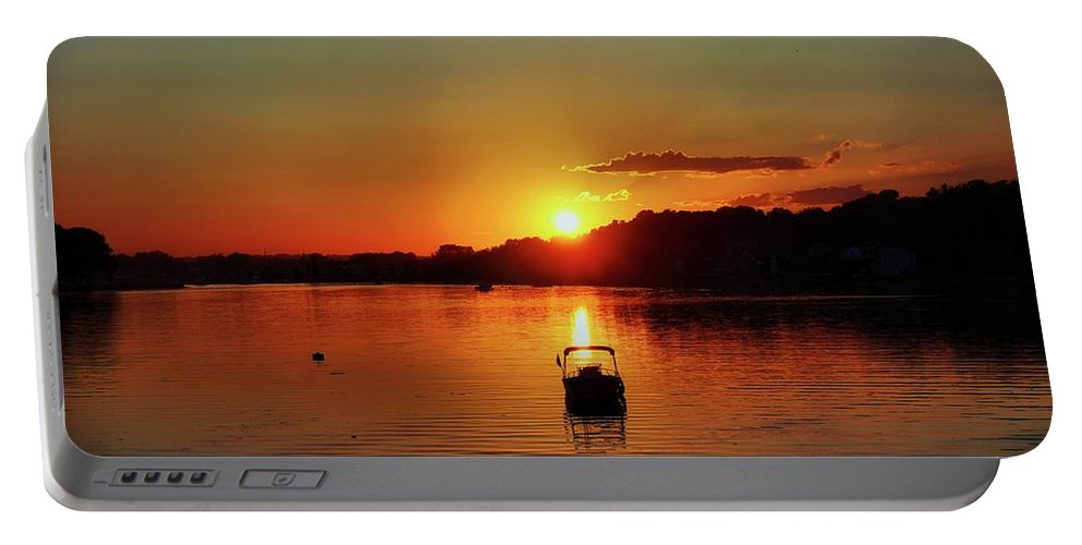 Boat Portable Battery Charger featuring the digital art Boat In Sunset Glow by Lilia D