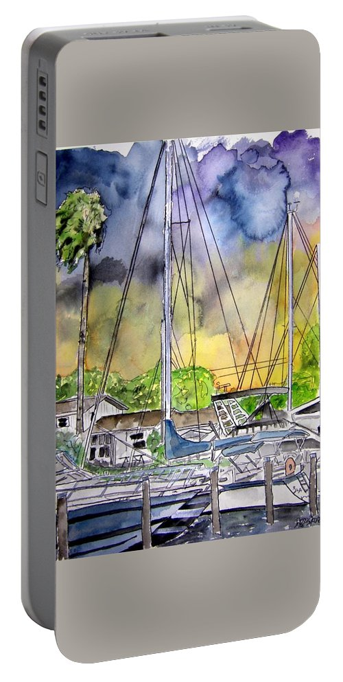 Marina Portable Battery Charger featuring the painting Boat Marina by Derek Mccrea