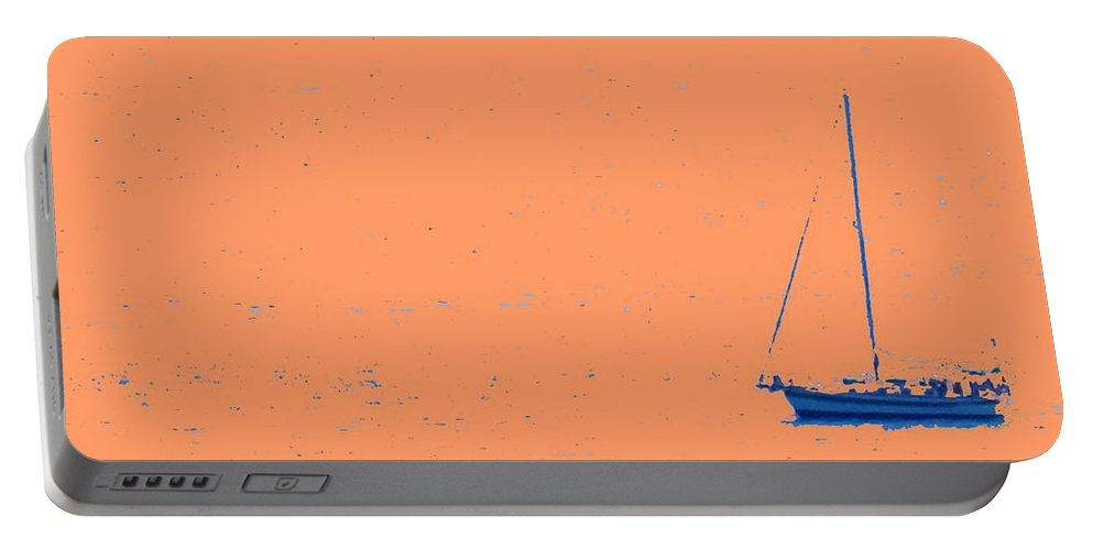 Boat Portable Battery Charger featuring the photograph Boat On An Orange Sea by Ian MacDonald