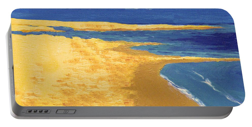 Boat Portable Battery Charger featuring the painting Boat On The Sand Beach by Alban Dizdari
