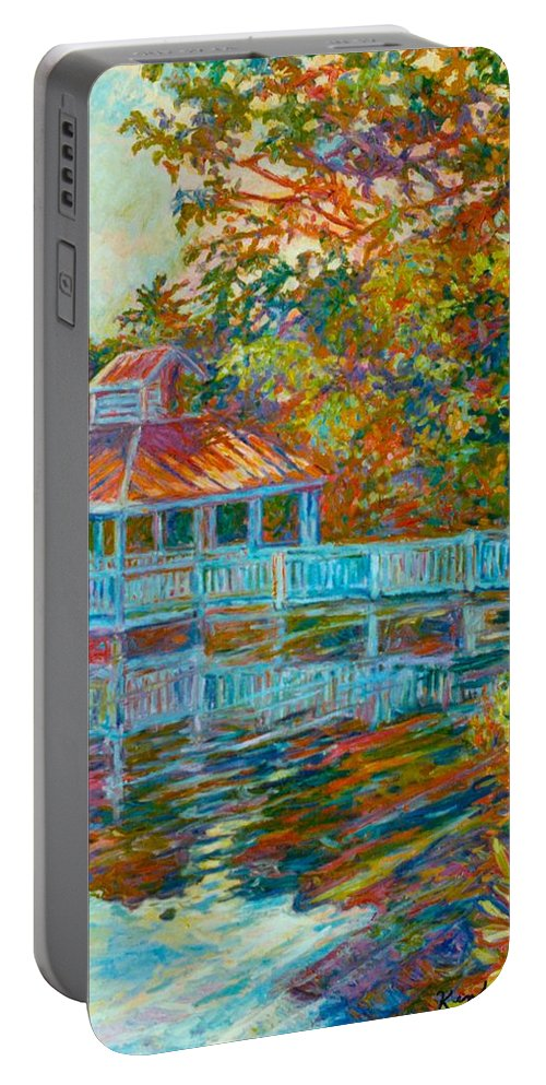 Mountain Lake Portable Battery Charger featuring the painting Boathouse At Mountain Lake by Kendall Kessler