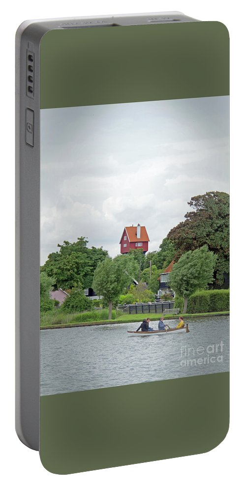 Thorpeness Portable Battery Charger featuring the photograph Boating In Thorpeness by Ann Horn