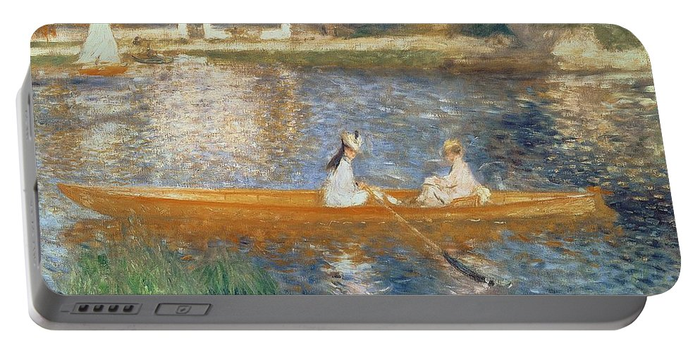 Boating On The Seine Portable Battery Charger featuring the painting Boating on the Seine by Pierre Auguste Renoir