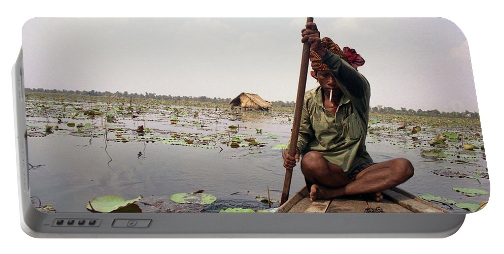Cambodia Portable Battery Charger featuring the photograph Boatman - Battambang by Patrick Klauss