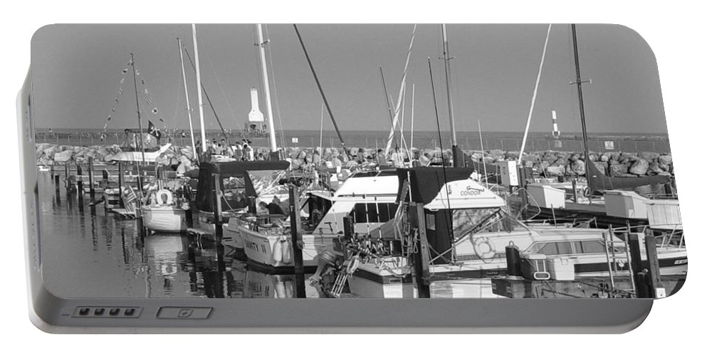 Sailboats Portable Battery Charger featuring the photograph Boats And Reflections B-w by Anita Burgermeister