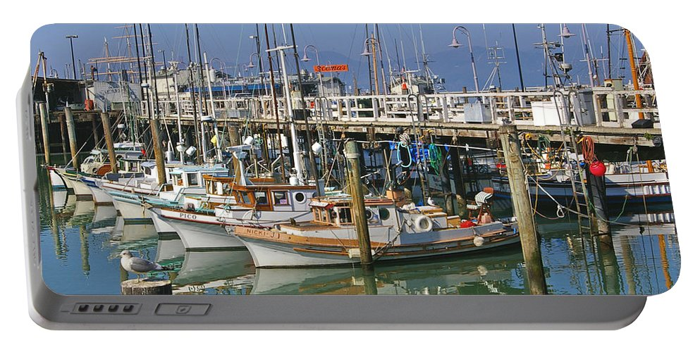 Boats Portable Battery Charger featuring the photograph Boats At Fisherman by Tom Reynen