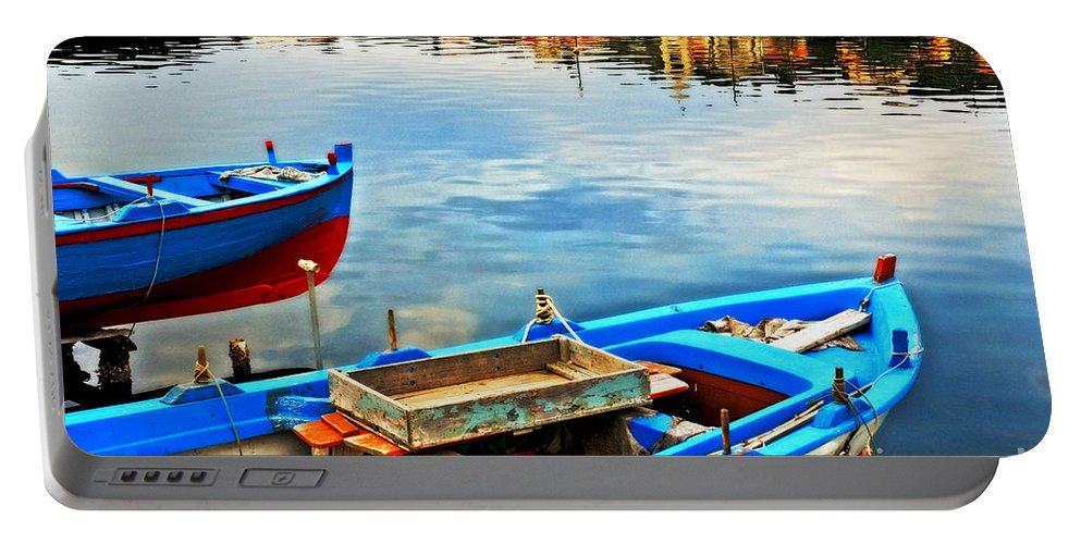 Boats Portable Battery Charger featuring the photograph Boats In Autumn by Silvia Ganora