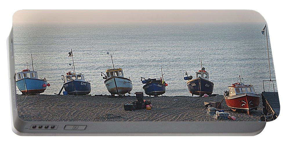 Boats Portable Battery Charger featuring the photograph Boats On Beach by Andy Thompson