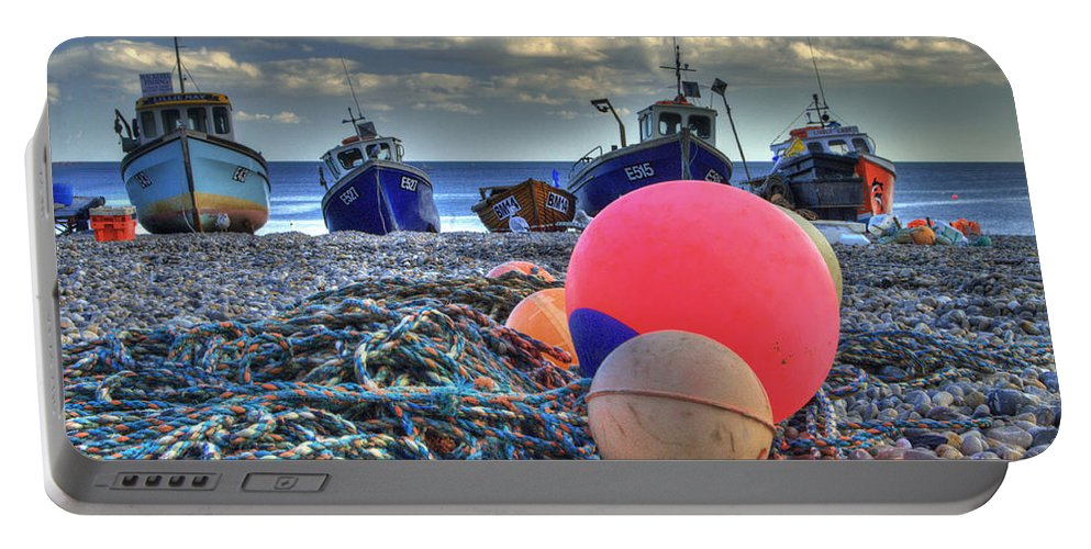 Boats Portable Battery Charger featuring the photograph Boats On The Beach At Beer by Rob Hawkins