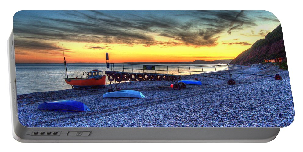 Boats Portable Battery Charger featuring the photograph Boats On The Beach At Branscombe by Rob Hawkins