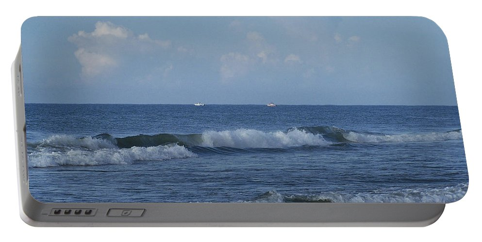 Ocean Portable Battery Charger featuring the photograph Boats On The Horizon by Teresa Mucha