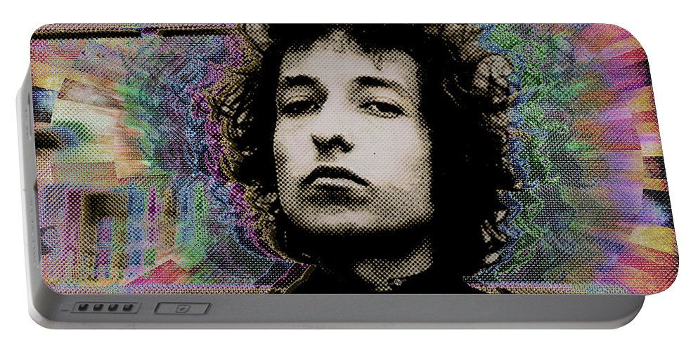 Bob Dylan Portable Battery Charger featuring the painting Bob Dylan 6 by Tony Rubino