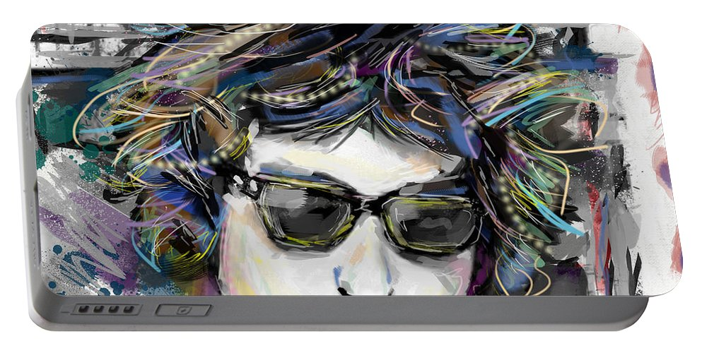 Bob Dylan Portable Battery Charger featuring the mixed media Bob Dylan Art by Ryan Rock Artist