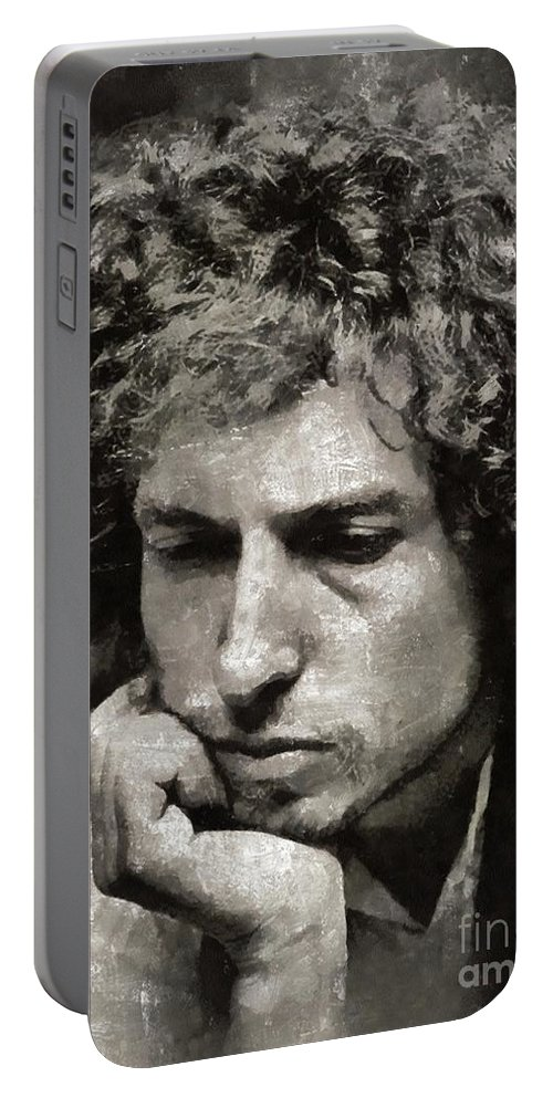 Hollywood Portable Battery Charger featuring the painting Bob Dylan by Mary Bassett by Esoterica Art Agency