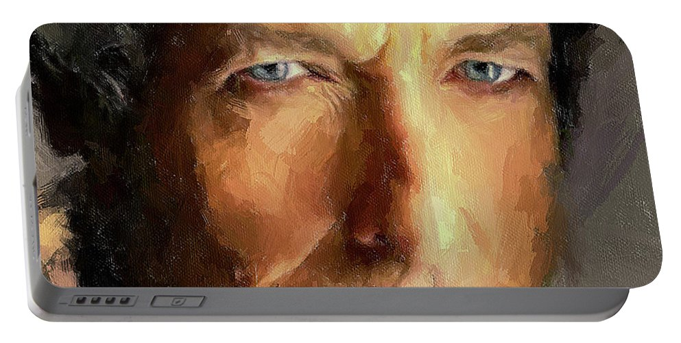 Bob Portable Battery Charger featuring the digital art Bob Dylan Impressive by Yury Malkov